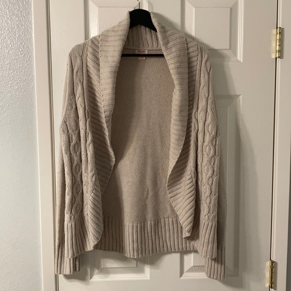 Taupe Cable Knit Cardigan Sweater